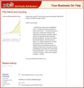 Yelp tops 50 million for march 2011