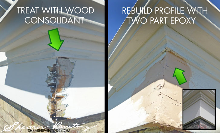 Wood rot repair with epoxy